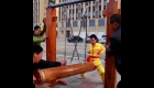 """Chinese kung fu masters show off their """"balls of steel"""""""