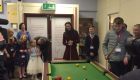 Duchess of Cambridge plays pool during visit to mental health project unit
