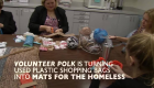 Volunteers use plastic bags to crochet mats for homeless