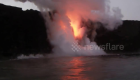 Lava flowing into the ocean in Hawaii