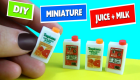 DIY Miniature Juice and Milk - DIY MINIS