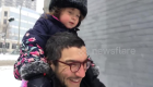 Father walks around Montreal with his daughter after two days of snow