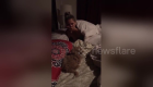 Man surprises sleeping wife with a puppy
